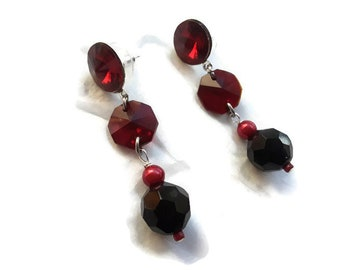 "Red and Black Drop Dangle Earrings with Swarovski Scarlet Rivoli Posts in Silver - 2.25"" - EAR522018926"