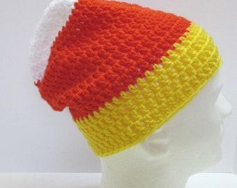 Candy Corn Hat Multi Color Slouchy Cap Halloween Dreadlocks Handmade Crochet Knit Big Hair Easter Spring Mans Womans