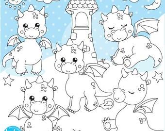 80% OFF SALE Dragon digital stamp commercial use, black lines, vector graphics, digital stamp, friends digital images - DS1122