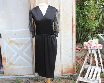 Celine Dress | 1970s Boho Meets Prairie Little Black Dress | Faux Wrap Dress | Lace | S/M |