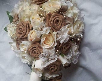 Rose and hessian bridal bouquet