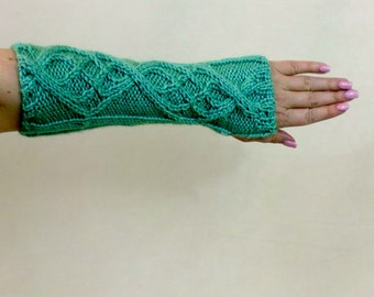 Fingerless Gloves, Knit Mint Green Arm Sleeves, Slouchy Long Sweater Gloves, Boho Knit Half Finger Gloves, Texting Gauntlets, Arm Warmers