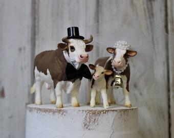 Cow Cake Topper-Family-Animal Wedding Cake Topper-Farm-Sentimental Cow-Barn Wedding Cake Topper-Farmer Boy and Girl-Cow Bride and Groom