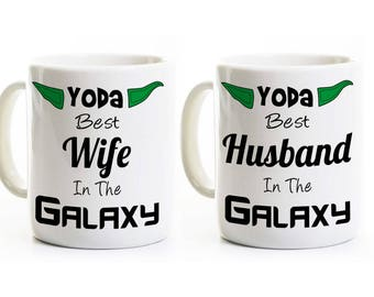Funny Anniversary Gift Coffee Mugs - Yoda Best Husband and Wife Mugs - Wedding, Set of Two Mugs - 11 or 15 Oz.