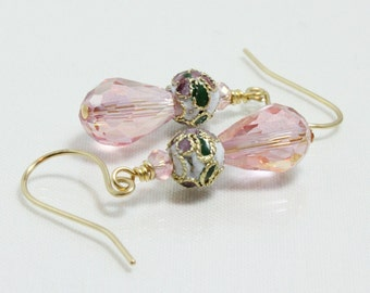 Pink Crystal Earrings, Cloisonne Teardrop Crystal