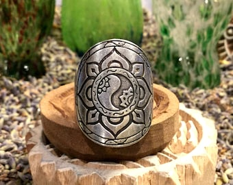 Harmony Mandala Ring Fully Adjustable Silver Boho Festival Urban Hippie