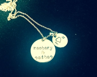Engraved Mom Necklace - Two Names - I Heart You - Personalized Sterling Silver