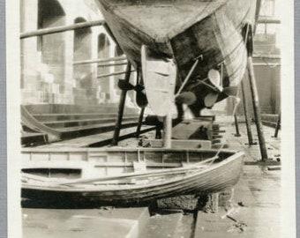 Vintage c 1930s NOIR Snapshot Photo, Boat in Dry Dock #12