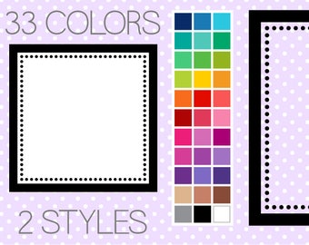 Dotty Square Digital Frames - Clipart Frames - Instant Download - Commercial Use