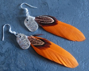 orange feather earrings & charms