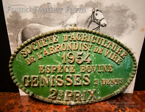Vintage French Award for Livestock Cattle dated 1954