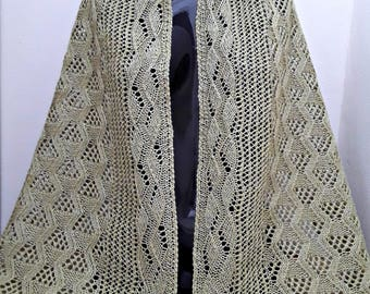 Arbors and Vines Linen and Wool Lace Knit Rectangular Wrap