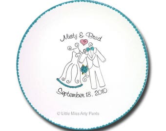 Free Shipping - Personalized Wedding Signature Plate - Wedding Attire Design - Guest Book Plate - Wedding Plate - Wedding Gift