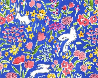 Michael Miller - Sommer Berry Garden Blue - Sarah Jane - bunny dove floral blue springtime - cotton sewing quilting fabric - HALF YARD