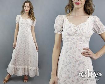 Hippie Wedding Dress Hippy Wedding Dress 70s Wedding Dress Floral Maxi Dress 1970s Dress Hippie Dress Hippy Dress White Floral Maxi Dress S