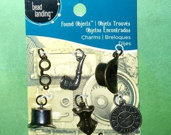 Brand New 6 Piece Charm Set, Found Objects Multi-Color Metal Steampunk Charms by Bead Landing.