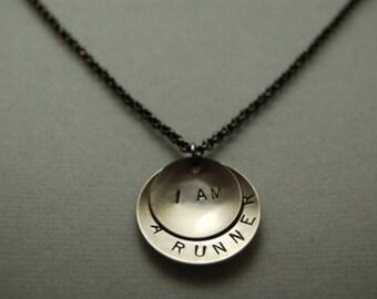 I AM a RUNNER Necklace - Running Jewelry - Running Necklace on Gunmetal Chain - Great Running Gift - New Runner - Beginner Runner - Run Gift