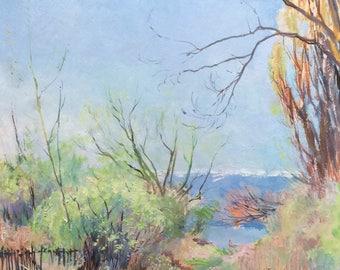 Superb oil Armand Leleux 1894 -1960 The beach Annecy Lake