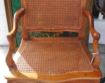Vintage Wood And Wicker Chair With Flower Design ***Store Pick Up Only*
