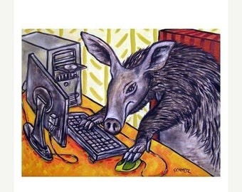 Aardvark Working on a Computer Art Print