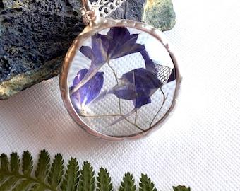 On Sale! Lobelia necklace, real botanical jewelry, flower terrarium jewellery, lobelia pendant, jewelry gift for her, floral glass jewelry