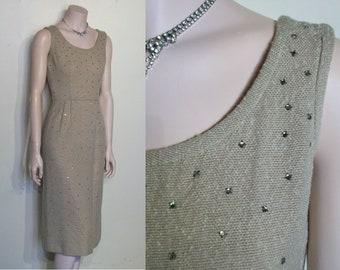 "Ravishing 1950s woven wiggle dress studded w/rhinestones waist 24"""