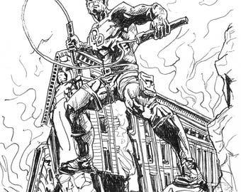 Daredevil drawing Inktober A5