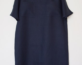Women's dress in navy blue linen, size M