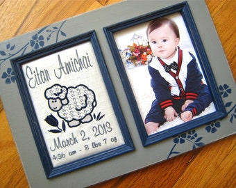Personalized gift for baby boy 5x7 Custom baby picture frame Baby shower gift Name birthdate weight Newborn gift Grandparent gift