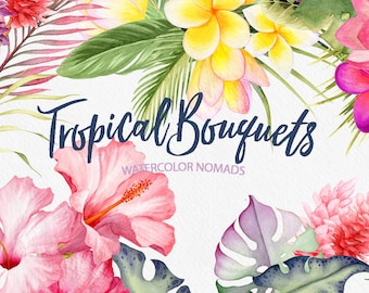 Tropical Flower Bouquets Clipart, watercolor flowers and leaves