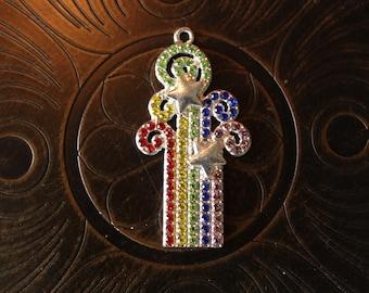 Rhinestone Rainbow Burst Pendant for Chunky Bubblegum Necklaces