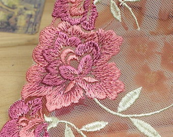 "Pink  Lace Trim Printing  Gauze Embroidery   Lace  Wedding  Clothing 10.24"" Width 1 Yard ALS003"