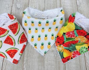 Bandana, Bibs, Fruit Bibs, Food Bibs, Baby Bibs, Baby Girl Bibs, Watermelon Bib, Pineapple Bib, Bib Sets