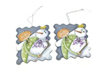 Whimsical Angel & Snowman Hand Painted Ornaments