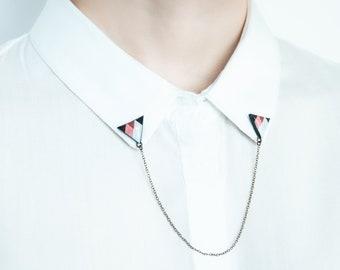 Triangle collar brooches, collar pin, unique accessory gift for women