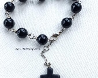 BLACK AGATE bracelet/Anklet rosary style  Silver individually hand linked and beaded 10MM Agate stones  CUSTOMIZED 4U!