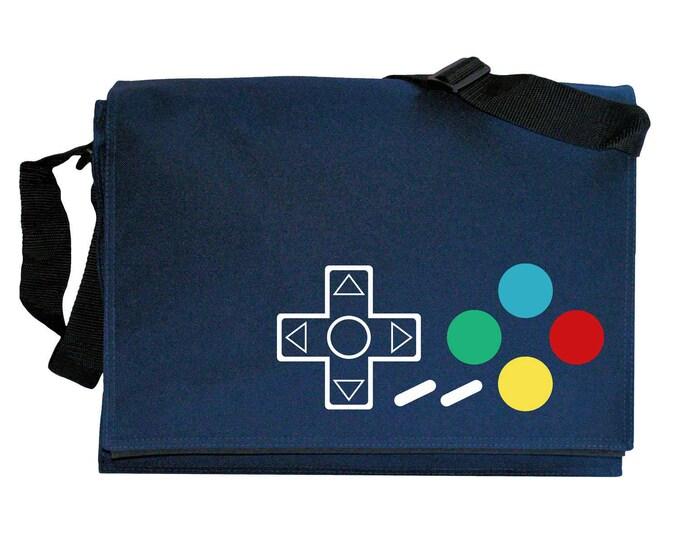 SNES Joypad Controller Buttons Navy Blue Messenger Shoulder Bag