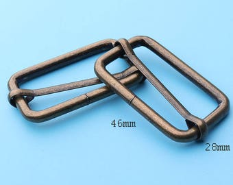 bronze slide 2pcs Center Bar Slide, Antique Brass Bronze Purse Strap Slider Buckle, Handbag for hardware slider--46*28mm fk8