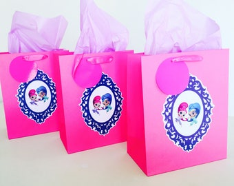 Personalised Shimmer and Shine Themed Party Gift Bags - Birthday, Goodie, Loot, Favours, Pink, Blue