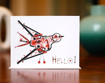 Hello Steampunk Bird - Set of 10 Black and Red Note Cards on 100% Recycled Paper
