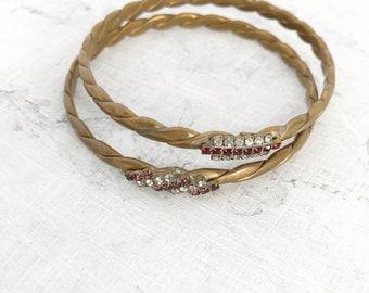 Vintage Woven Rhinestone Bangle / Vintage Metal Brass Bracelet Set