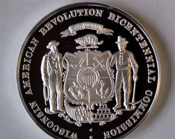 """1976 Franklin Mint Sterling State 1 1/2"""" Proof Bicentennial Wisconsin Medal 1oz"""