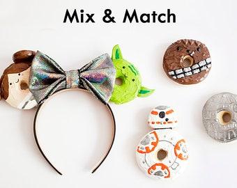 Star wars mouse ears / Star wars mickey mouse ears / starwars ears / yoda leia bb-8 chewy chewie chewbacca death star / donut ears