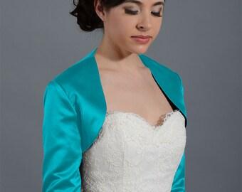 Teal 3/4 sleeve satin bolero wedding jacket shrug