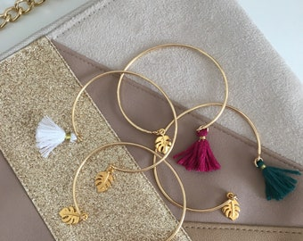 Gold Bangle Bracelet and tassel - boho chic trendy tropical