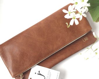 Brown Leather Foldover Clutch // Evening Clutch // Bridesmaid Gift // Leather Bag.