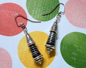 Silver and Black Striped Earrings (2681)