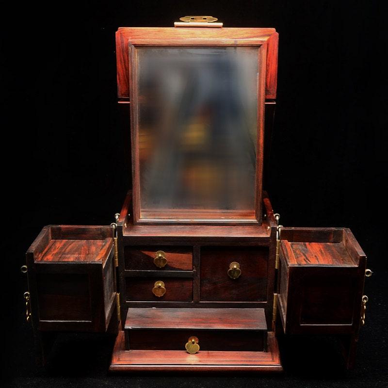 Rosewood Wooden Jewelry Box Convertible Makeup Box