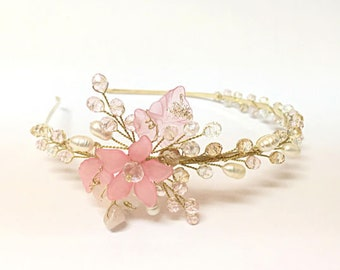 Flower Girl Headband, flower girl headpiece, flower girl hair accessories, flower hair piece floral, pearl headpiece, floral headband pearl