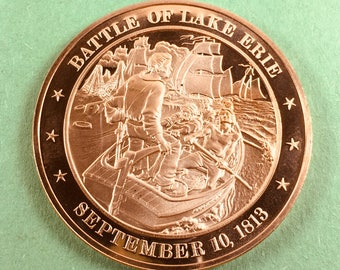 Franklin Mint Medal History of United States Series Battle Of Lake Erie 1813, 44 mm Bronze Mint Condition<>#PSY-157